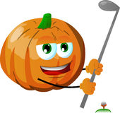 Pumpkin swinging his golf club Royalty Free Stock Images