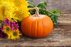 Pumpkin on table royalty free stock photos