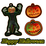 Pumpkin tags or labels and Happy Halloween text Royalty Free Stock Photo