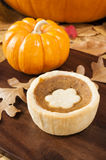 Pumpkin Tart with Fall  Leaves Stock Photography