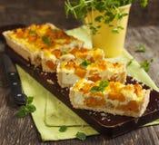 Pumpkin tart with ricotta Stock Photo