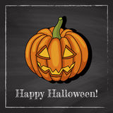 Pumpkin. Template of a halloween greeting card with image of pumpkin on a chalkboard background Royalty Free Stock Photography