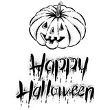 The pumpkin with text -Happy Halloween. Vector illustration.Hand drawing Stock Photography