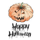 The pumpkin with text -Happy Halloween. Watercolor illustration.Hand drawing Stock Photo
