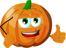 Pumpkin with thumb up Stock Photos