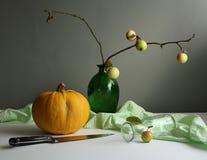 Pumpkin time. Autumn still life with yellow pumpkin stock photography