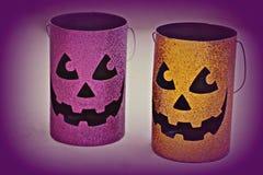 Halloween pumpkin tins Royalty Free Stock Images