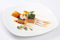 Pumpkin tofu with seaweed top stock photography