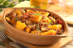 Pumpkin, Tomato and Mincemeat Dish Stock Images