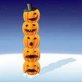 Pumpkin totem. Layered and grouped illustration for easy editing Stock Image