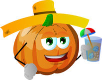 Pumpkin tourist holding a drink Royalty Free Stock Photo