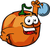 Pumpkin training with kettlebell Royalty Free Stock Images
