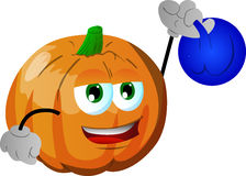 Pumpkin training with kettlebell Stock Image