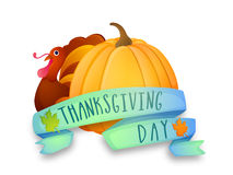 Pumpkin and Turkey Bird for Thanksgiving Day celebration. Stock Photography