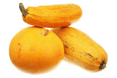 Pumpkin and two zucchini Royalty Free Stock Images