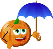 Pumpkin with umbrella Royalty Free Stock Image