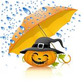 Pumpkin under a yellow umbrella with rain. Falling leaves, halloween Stock Illustration