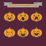 Pumpkin vector faces Royalty Free Stock Photo