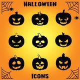 Pumpkin icon set. Pumpkin vector icons set, Halloween scary faces design set, horror decoration Stock Image