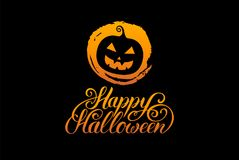 Pumpkin vector illustration with Happy Halloween lettering. All Saints Eve background. festive card design. Pumpkin vector illustration with Happy Halloween Stock Photo
