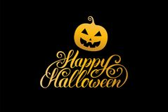 Pumpkin vector illustration with Happy Halloween lettering. All Saints Eve background. festive card design. Stock Photo