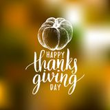 Pumpkin vector illustration with Happy Thanksgiving Day lettering. Invitation or festive greeting card template. Pumpkin vector illustration with Happy Stock Photo