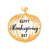 Pumpkin vector illustration with Happy Thanksgiving Day lettering. Invitation or festive greeting card template. Pumpkin vector illustration with Happy Stock Images