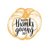 Pumpkin vector illustration with Happy Thanksgiving Day lettering stock illustration