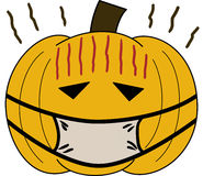 Pumpkin vectorface cartoon emotion expression sick Royalty Free Stock Photos