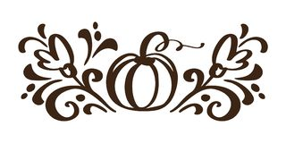 Pumpkin vegetable hand drawn floral autumn design elements isolated on white background for retro design. Vector Royalty Free Stock Image