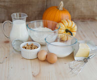 Pumpkin and walnut cake (pie) ingredients Royalty Free Stock Images