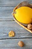Pumpkin with walnuts Stock Photo