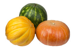 Pumpkin, watermelon and melon on white background Stock Photography