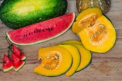 Pumpkin. Watermelon Royalty Free Stock Photo
