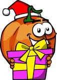 Pumpkin wearing Santa's hat and holding gift box Stock Photography