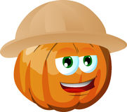 Pumpkin wearing scout or explorer hat Stock Photo