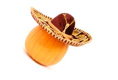 Pumpkin Wearing a Sombrero Stock Images