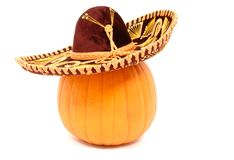 Pumpkin Wearing a Sombrero Royalty Free Stock Image