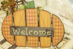 Pumpkin Welcome Sign Stock Photos