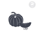 Pumpkin. On a white background shows an icon indicating pumpkin Stock Images
