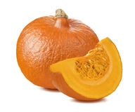 Pumpkin whole segment piece 2 isolated on white background. As package design element royalty free stock images