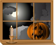 Pumpkin in window Stock Photography