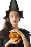 The pumpkin and witch Royalty Free Stock Image