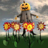 Pumpkin witch in dark flower garden Royalty Free Stock Image