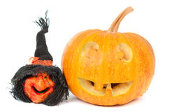 Pumpkin and witch on Halloween Royalty Free Stock Photo