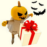 Pumpkin witch has gift suprise with bats. Halloween pumpkin witch has gift suprise with bats render illustration Royalty Free Stock Photo