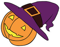 Pumpkin in Witch Hat. Represent a Pumpkin wearing a witch's hat. Available in well layered vector eps 8 file Royalty Free Stock Images