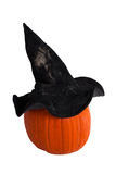 Pumpkin with witch hat Stock Photo
