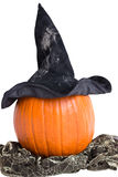 Pumpkin with witch hat and scarf Royalty Free Stock Images