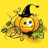 Pumpkin in witch hat Stock Photos